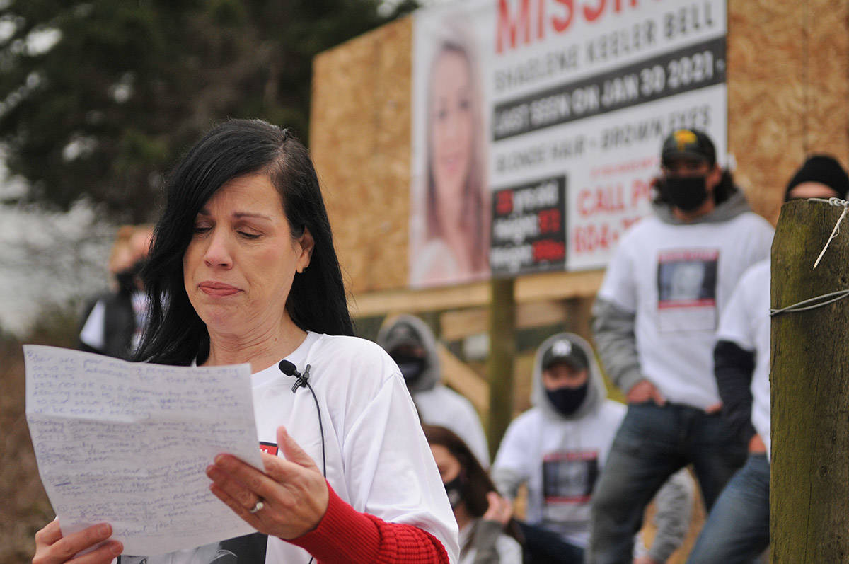 Alina Durham reads a statement in front of a banner with her daughter's face on it. Shaelene Keeler Bell of Chilliwack was last seen on Jan. 30, 2021. (Jenna Hauck/ Chilliwack Progress)