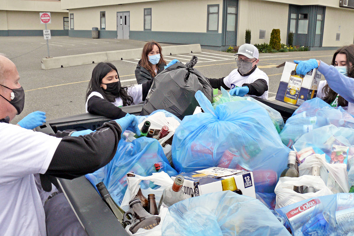 A pickup truck was filled to the top with donations for the Autism Acceptance Bottle Drive fundraiser by the Saran family of Langley for the Canucks Autism Network, held on Saturday, March 27 at the Langley Fundamental Elementary School. (Dan Ferguson/Langley Advance Times)