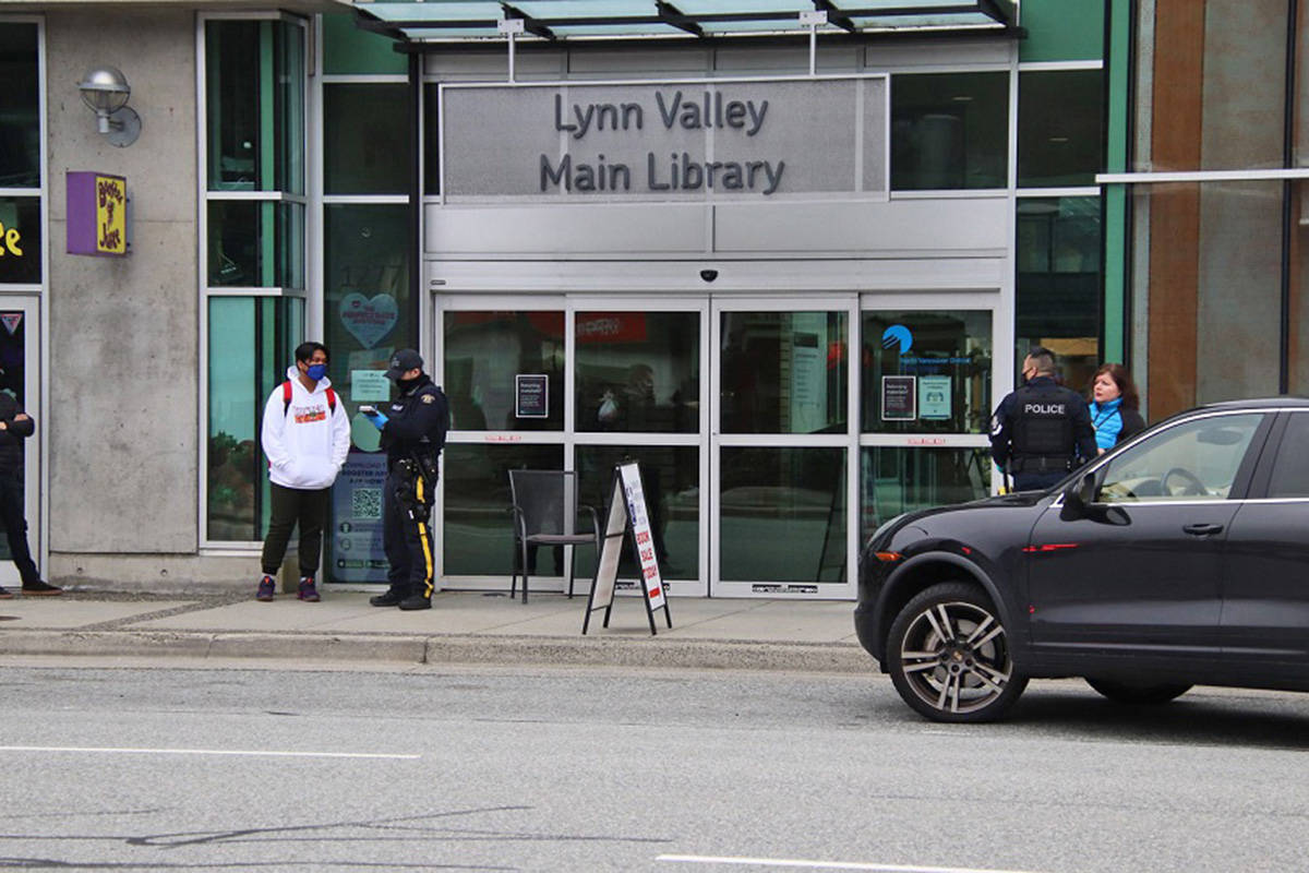 A woman was killed and another six people injured during a series of stabbings at the Lynn Valley Library in North Vancouver on Saturday, March 27, 2020. (Shane MacKichan)