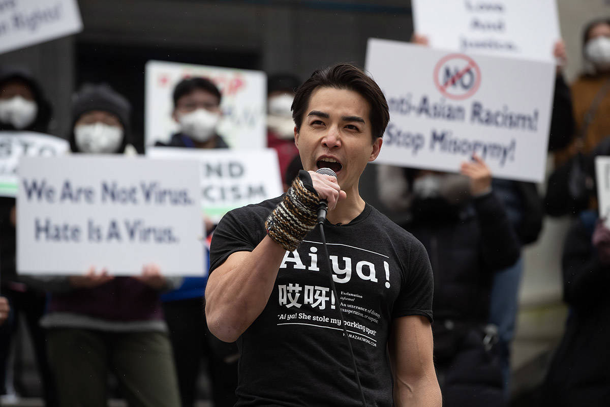 Chinese-Canadian actor Ludi Lin addresses the crowd during a rally opposing discrimination against Asian communities and to mourn the victims of those affected by the Atlanta shootings, in Vancouver, B.C., on Sunday, March 28, 2021. THE CANADIAN PRESS/Darryl Dyck
