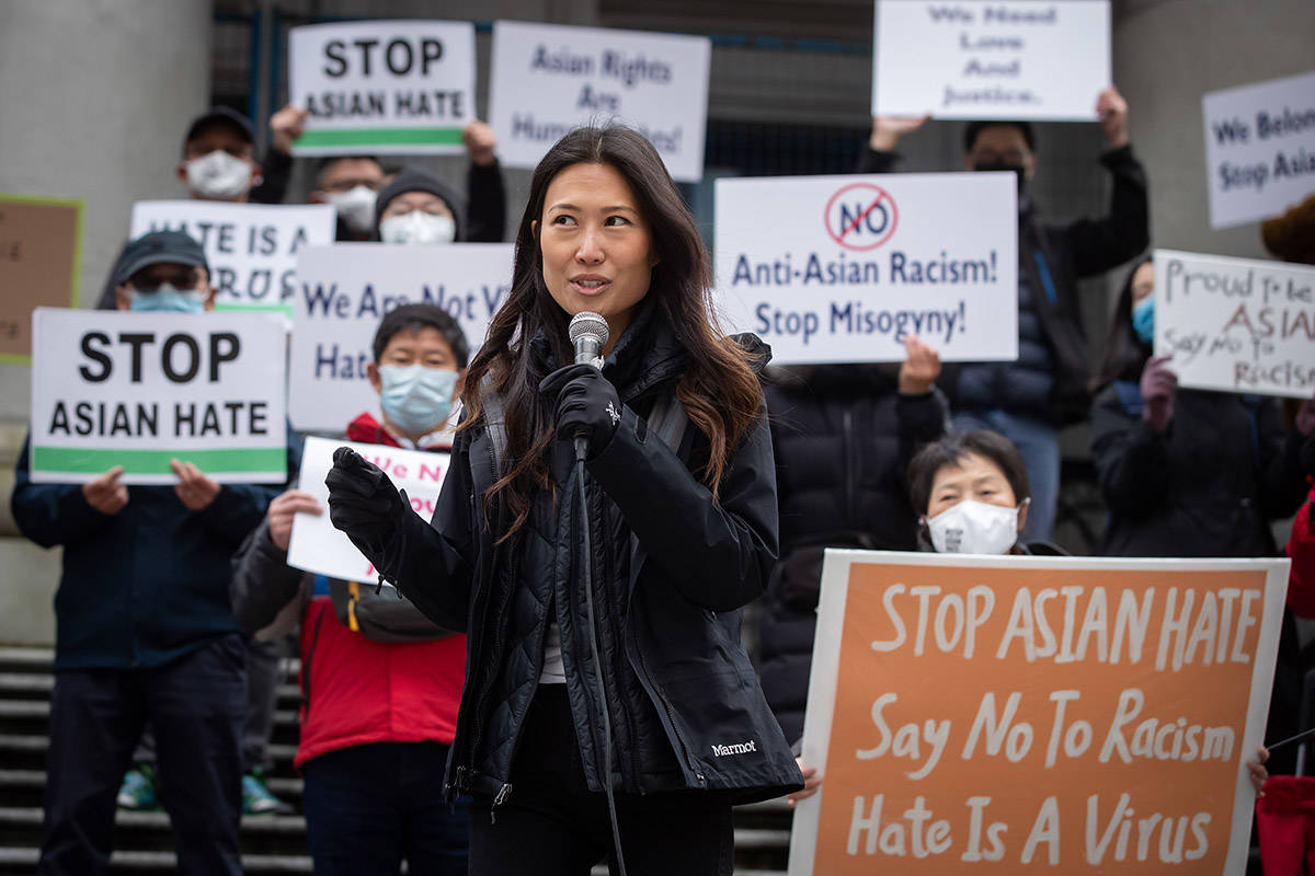 Korean-American journalist Eileen Park Robertson, who is married to former Vancouver mayor Gregor Robertson, addresses the crowd during a rally opposing discrimination against Asian communities and to mourn the victims of those affected by the Atlanta shootings, in Vancouver, B.C., on Sunday, March 28, 2021. THE CANADIAN PRESS/Darryl Dyck
