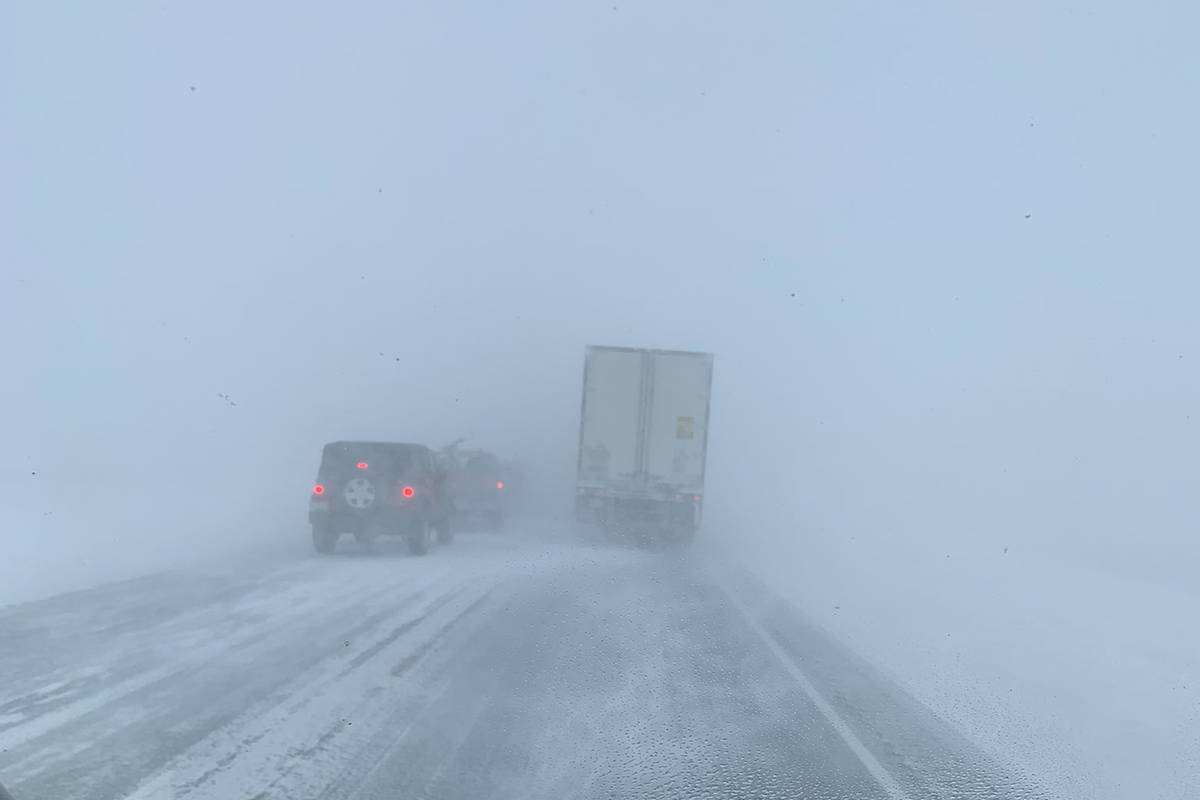 A 50 to 70 vehicle pileup halted traffic on Highway 1 between Medicine Hat and Calgary on Monday, March 29, 2021. (Prairie Sprinter/Twitter)