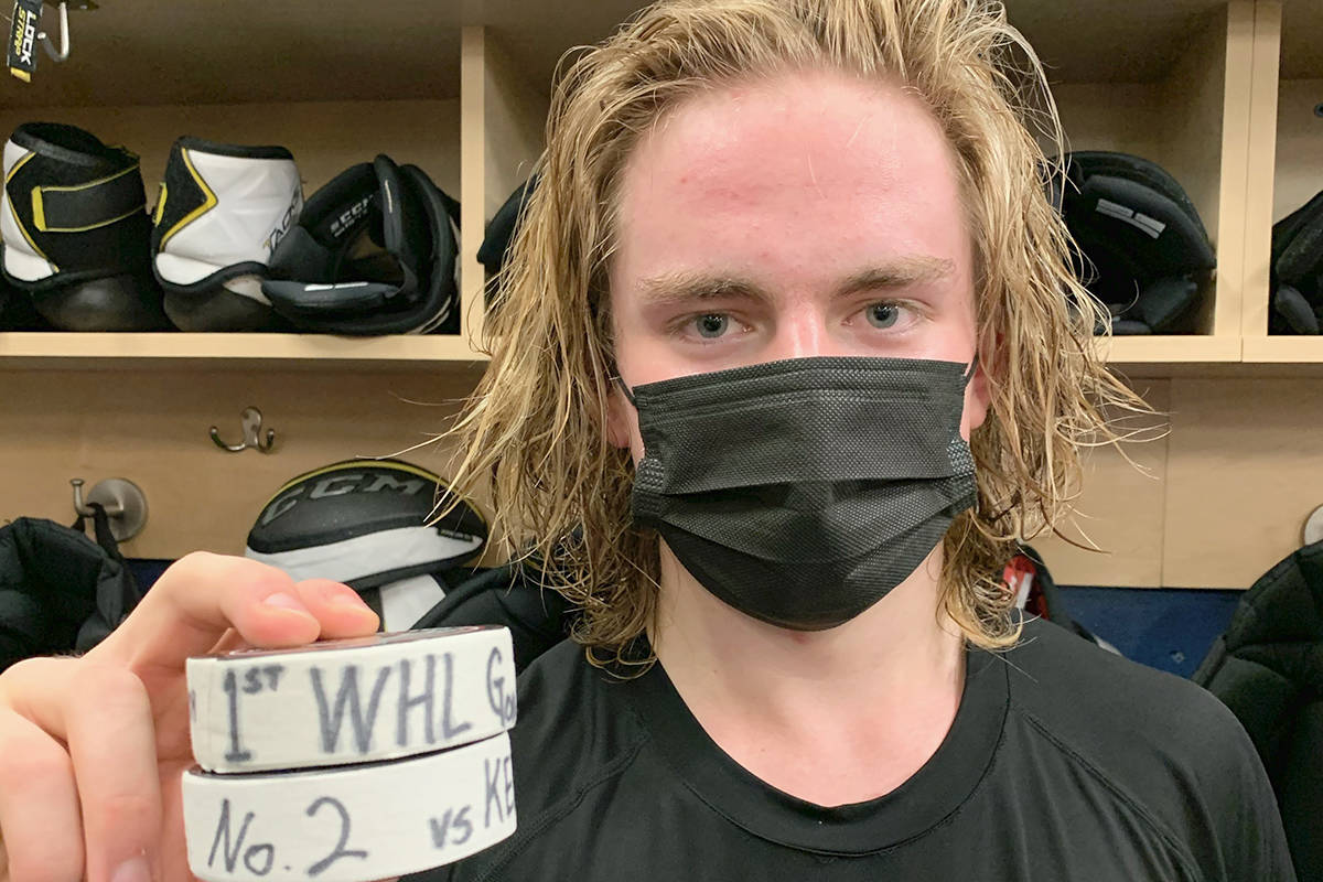Mazden Leslie scored twice in his WHL debut as the Langley-based Vancouver Giants downed Kelowna 6-0 in WHL action on Sunday, March 28, 2021 (Allen Douglas/Special to Langley Advance Times)