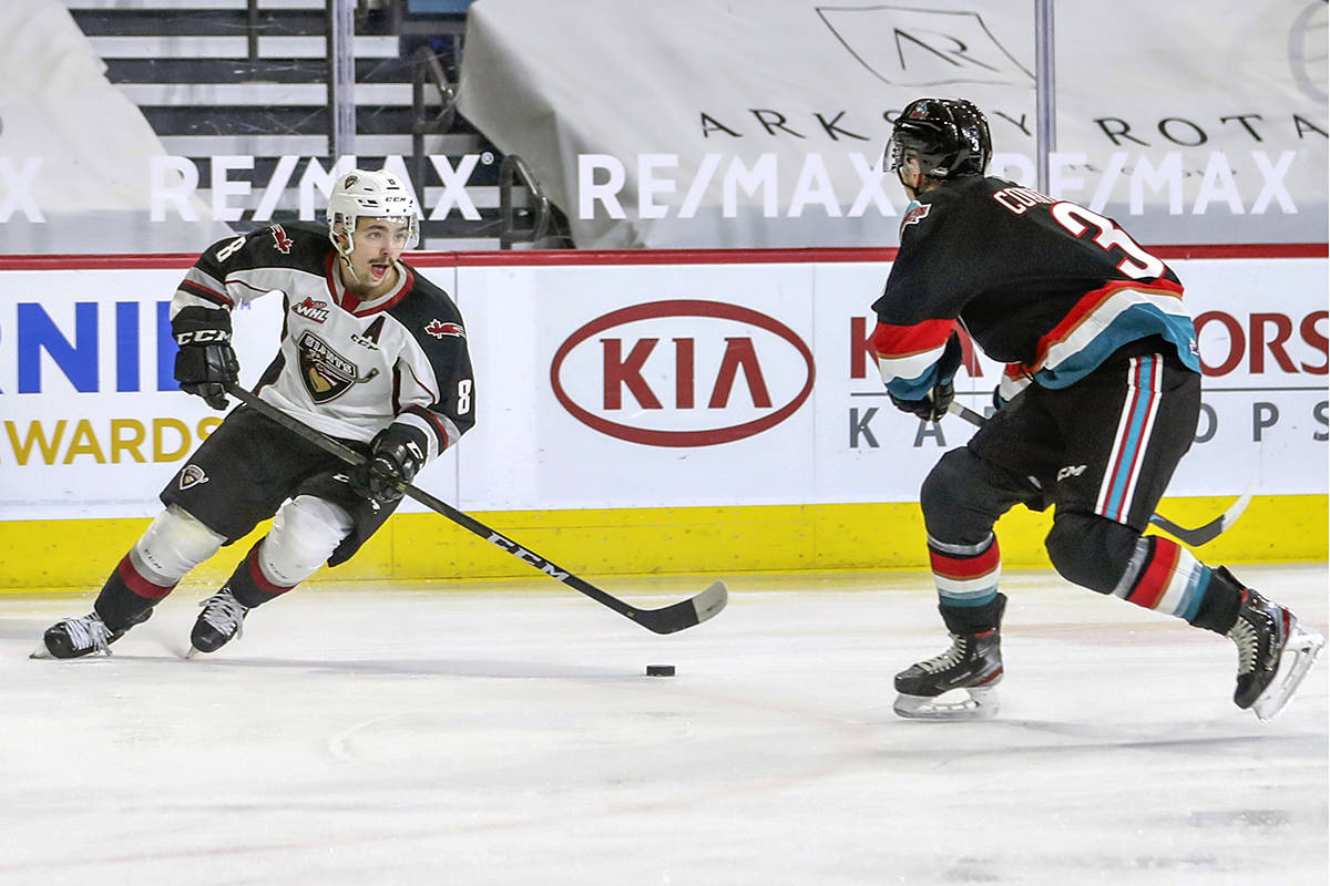 Tristen Nielsen paced the Giants attack with a three-goal first period as the Langley-based team downed Kelowna 6-0 in WHL action on Sunday, March 28, 2021 (Allen Douglas/Special to Langley Advance Times)