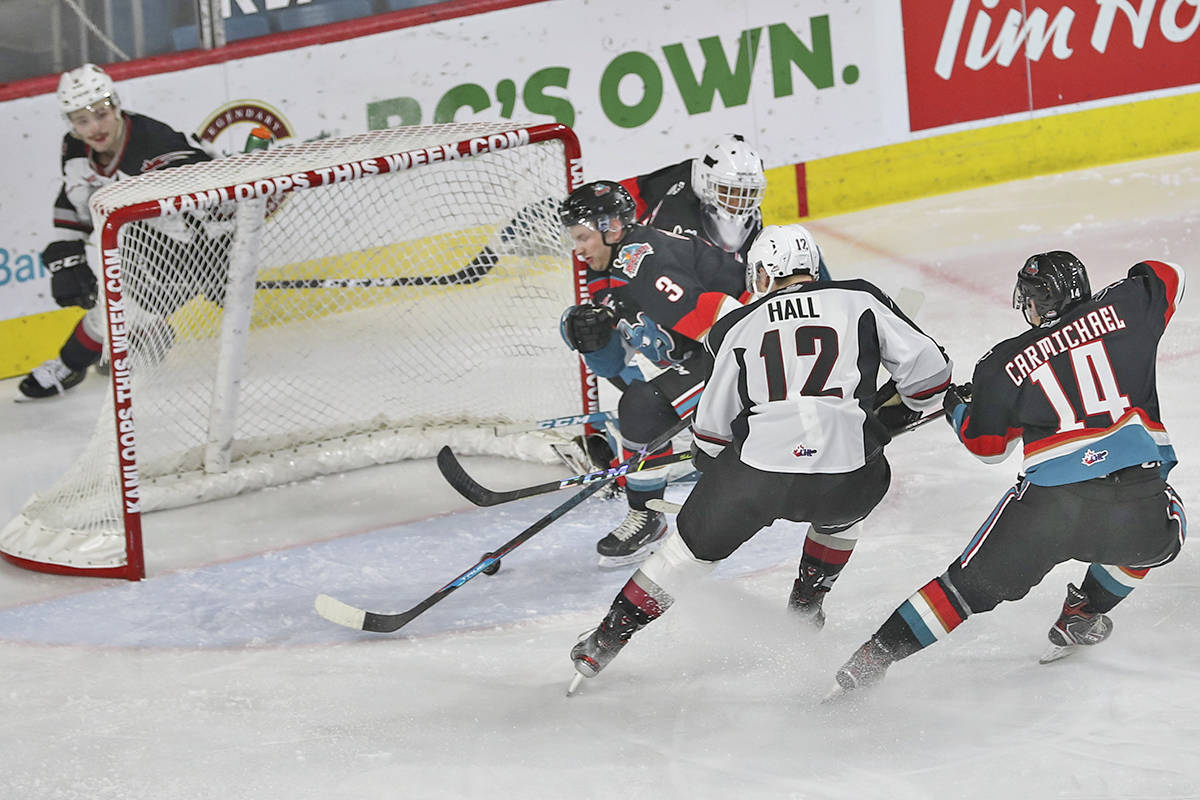 Langley-based Vancouver Giants downed Kelowna 6-0 in WHL action on Sunday, March 28, 2021. The final goal of the game came courtesy of Adam Hall. (Allen Douglas/Special to Langley Advance Times)
