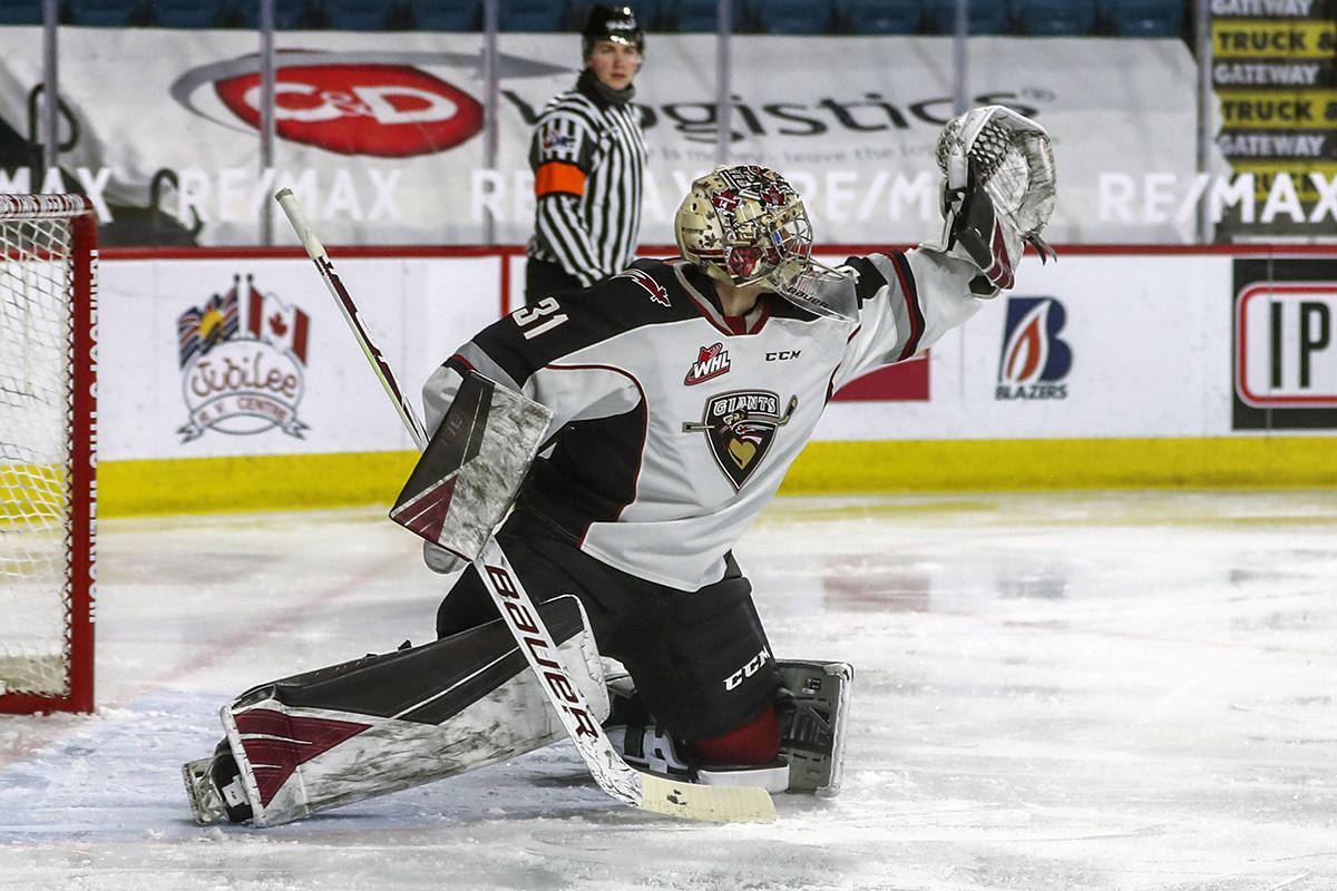 Goaltender Trent Miner could not be beaten as the Langley-based Vancouver Giants downed Kelowna 6-0 in WHL action on Sunday, March 28, 2021 (Allen Douglas/Special to Langley Advance Times)