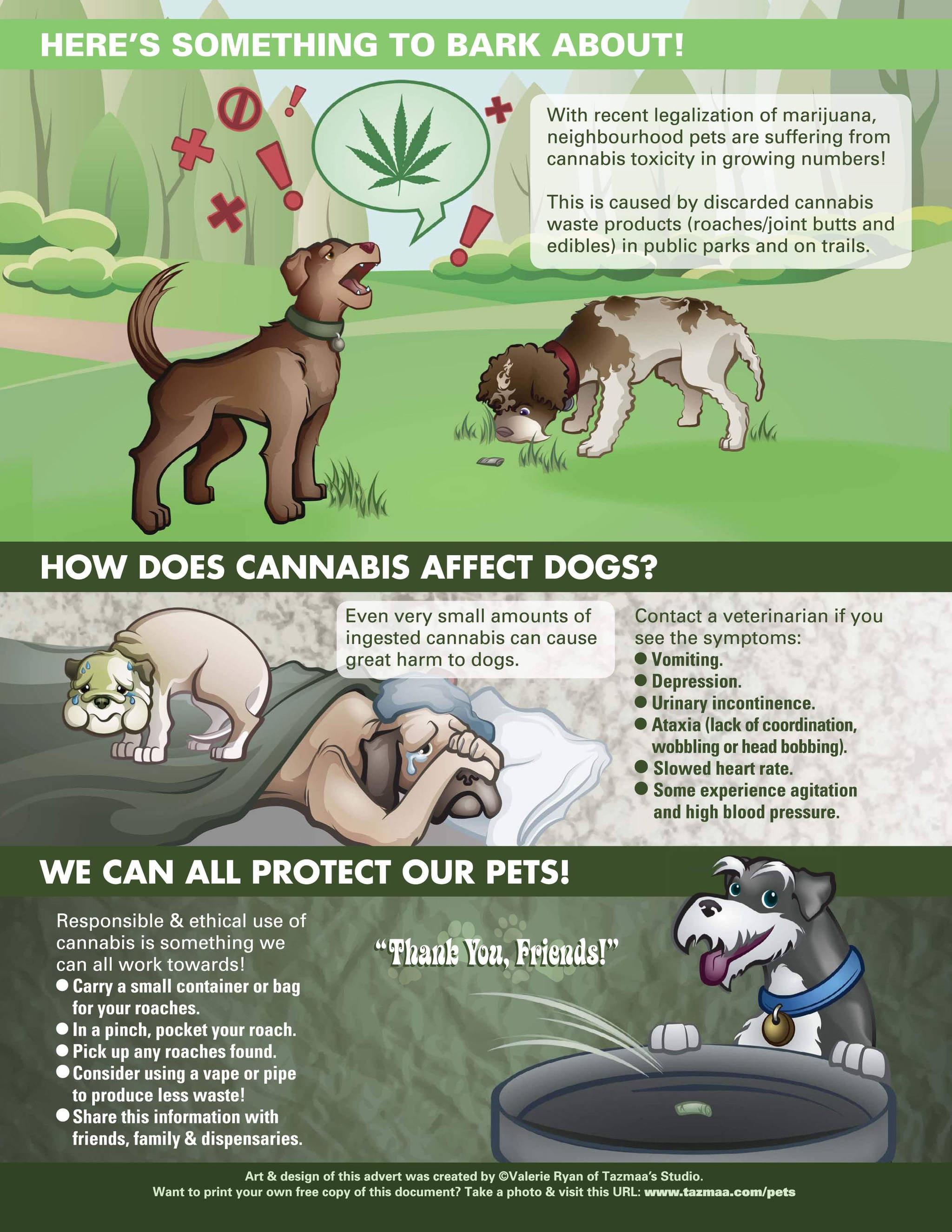Valerie Ryan created a poster to raise awareness about the hazards for dogs from consuming cannabis remnants (Special to Langley Advance Times)