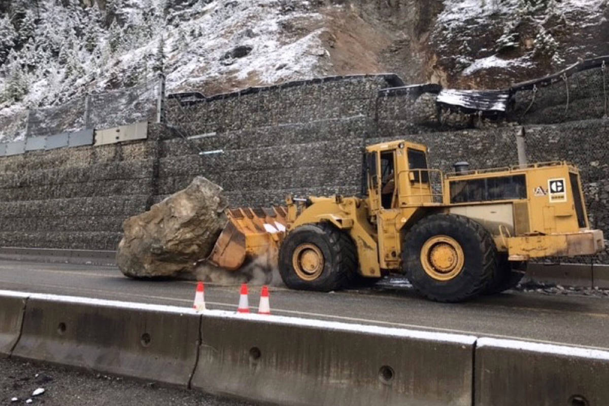 B.C. Transportation workers acted quickly to remove a huge boulder from Highway 1, which impeded progress on the highway in both directions for at least an hour on Monday morning. (Photo/B.C. Transportation)