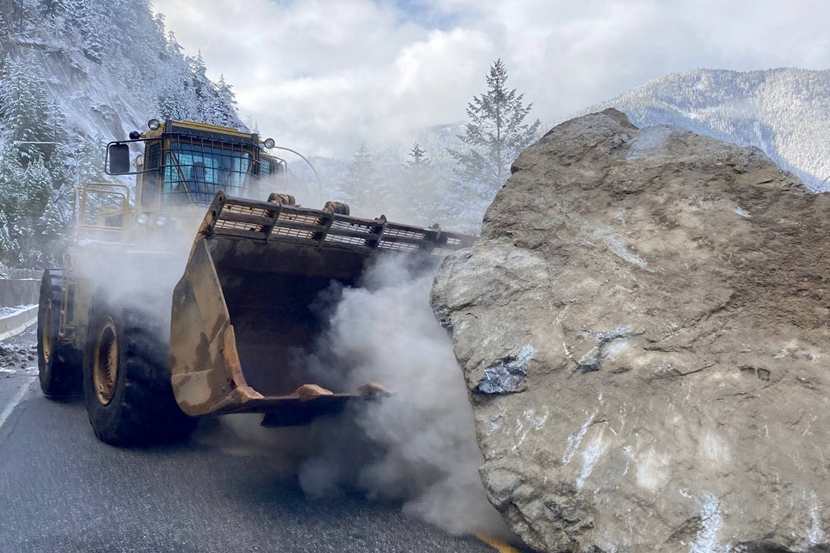 A boulder the size of a pickup truck disrupted traffing near Boston Bar along Highway 1. Emil Anderson workers were on the scene to push the boulder aside and repair the roadway. (Photo/Emil Anderson Maintenance)