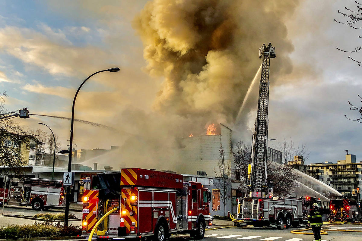 The North Vancouver City Fire Department fights a fire at the Duke of Connaught Lodge No. 64 (North Vancouver Masonic Centre) at 1142 Lonsdale Ave on Tuesday, March 30, 2021. (North Vancouver RCMP)