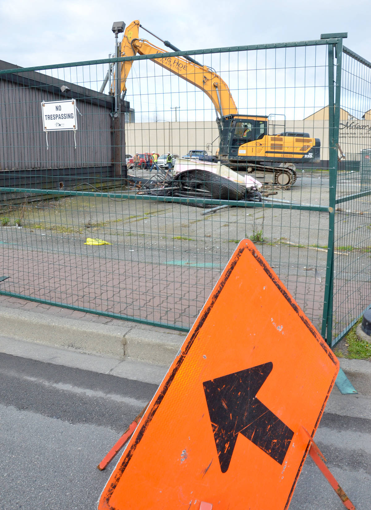 Demolition of Gabby's Country Cabaret on Fraser Highway at 203rd Street took place March 30, 2021. (Heather Colpitts/Langley Advance Times)