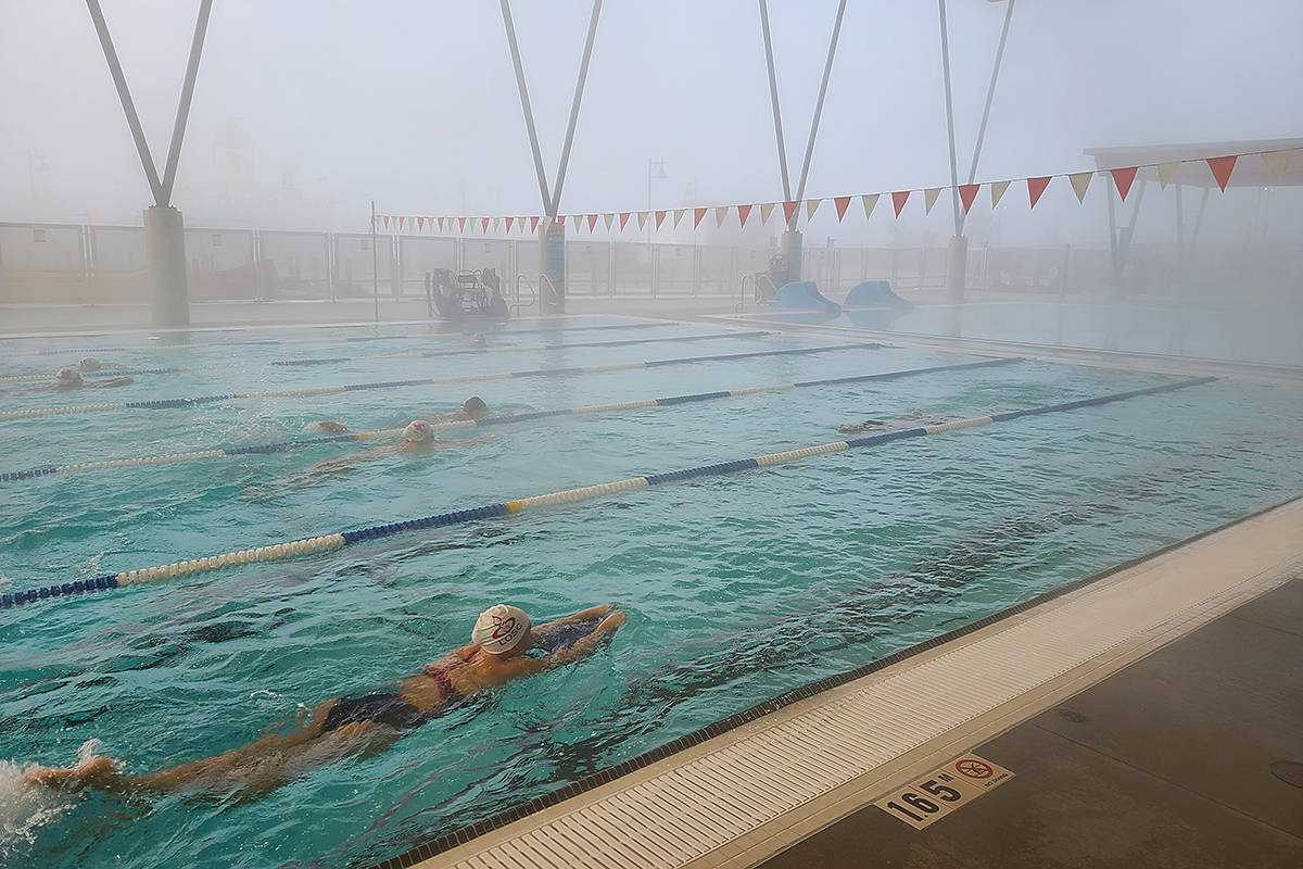 LOSC members worked out at the Aldergrove outdoor pool on Saturday, Oct. 24, 2020. (Langley Advance Times file)