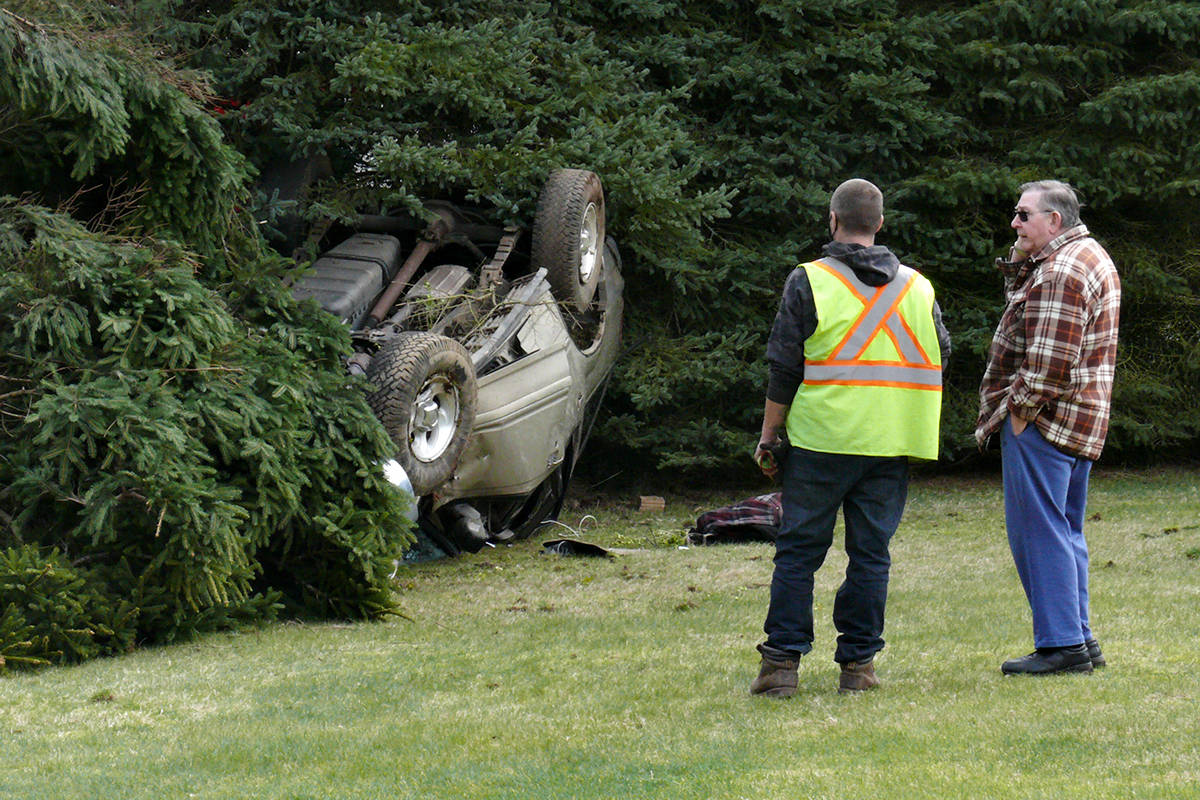 One person was taken to hospital after a vehicle went off the road and hit a tree in the 5000-block of 236 Street around 11:30 a.m. on Tuesday, March, 30 (Dan Ferguson/Langley Advance Times)