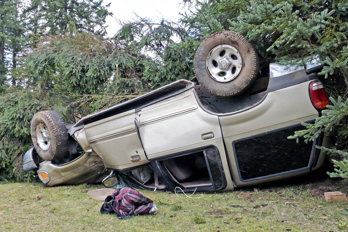 A vehicle went off the road and hit a tree in the 5000-block of 236th Street around 11:30 a.m. on Tuesday, March, 30 (Dan Ferguson/Langley Advance Times)