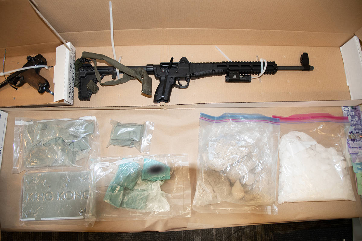 Firearms and narcotics were seized. (RCMP/Special to Black Press)