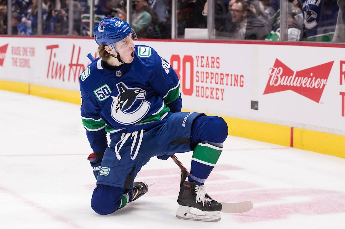 Vancouver Canucks' Adam Gaudette celebrated a goal against the Chicago Blackhawks during the second period of an NHL hockey game last year. THE CANADIAN PRESS/Darryl Dyck