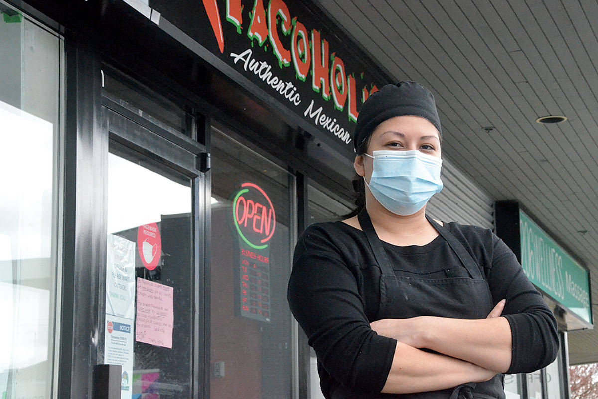 """Karina Marinez, owner of Tacoholic, is one local restaurant owner facing a total shutdown of indoor dining again due to the new """"circuit breaker"""" lockdown. (Matthew Claxton/Langley Advance Times) Karina Marinez, owner of Tacoholic, is one local restaurant owner facing a total shutdown of indoor dining again due to the new """"circuit breaker"""" lockdown. (Matthew Claxton/Langley Advance Times)"""