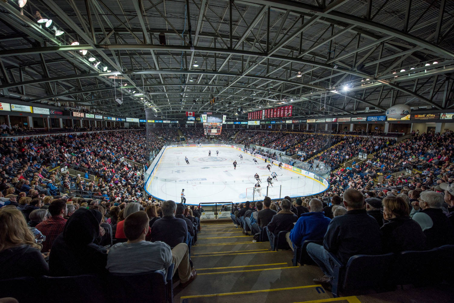 The Kelowna Rockets fill the arena against the Calgary Hitmen on February 28, 2015 at Prospera Place in Kelowna, British Columbia, Canada. (Photo by Marissa Baecker/Shoot the Breeze)