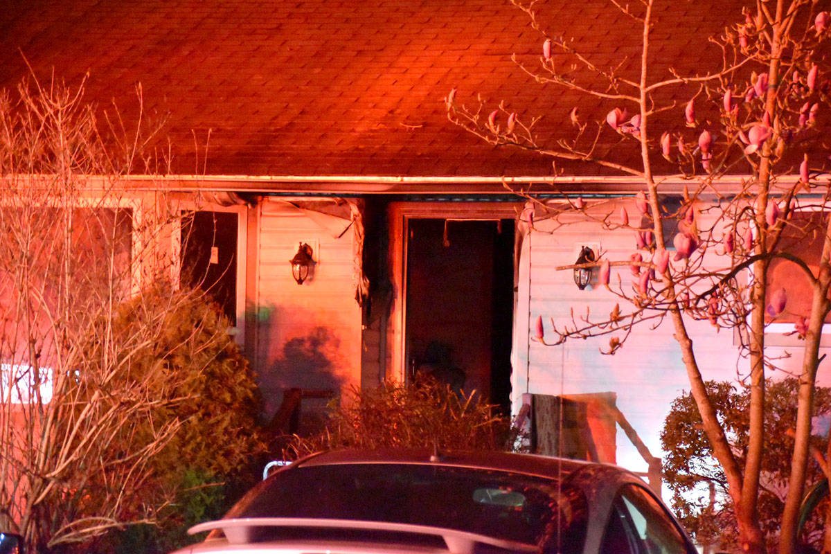 Maple Ridge firefighters were called to a house fire in the 11900 block of Stephens Street on Tuesday, March 30, 2021 around 9 p.m., where they discovered a woman and her dog deceased in the home. (Curtis Kreklau/Special to The News)
