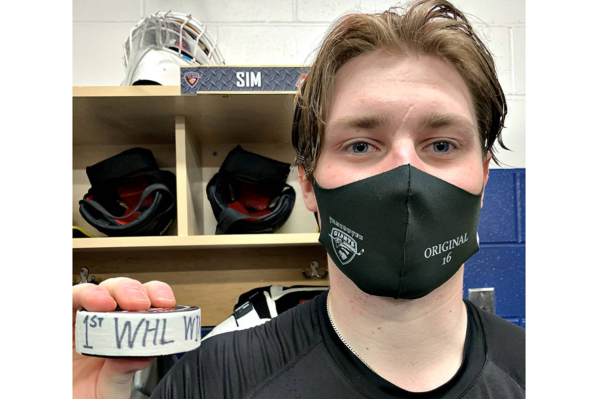 Giants goaltender Drew Sim stopped 23 shots to earn his first career WHL victory against Victoria on March 30, 2021 (Special to Langley Advance Times)