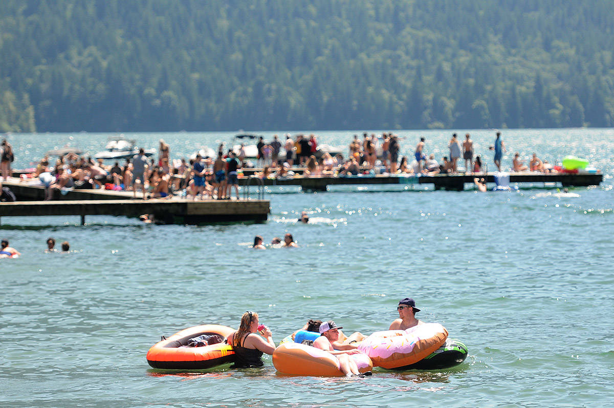 Folks were finally able to take in some warm summer weather at Main Beach in Cultus Lake Park on Tuesday, July 14, 2020. (Jenna Hauck/ The Progress)
