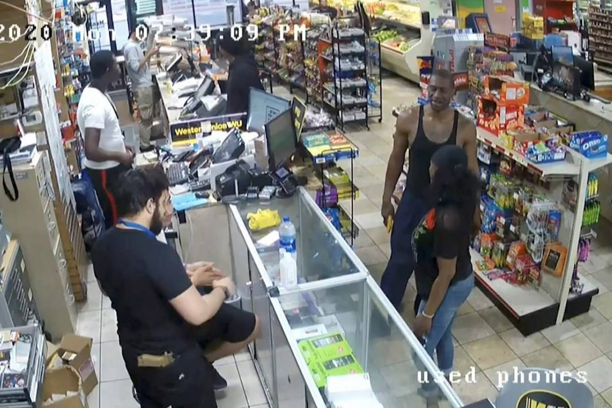 George Floyd, right, is seen inside Cup Foods on May 25, 2020, in Minneapolis. Former Minneapolis Police officer Derek Chauvin is on trial for the death of Floyd at the Hennepin County Courthouse in Minneapolis, Minn. (Court TV via AP, Pool)