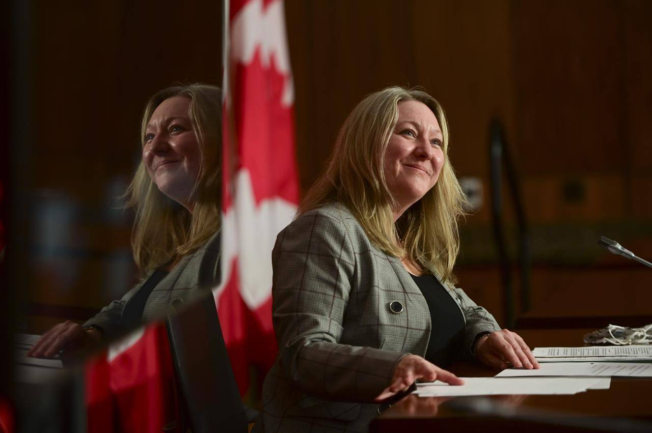 Minister of Middle Class Prosperity and Associate Minister of Finance Mona Fortier holds a press conference in Ottawa on Monday, Jan. 25, 2021. THE CANADIAN PRESS/Sean Kilpatrick