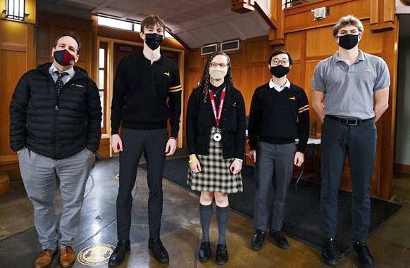 Teacher Tim Coy recited Pi to 1,510 digits in a competition at Shawnigan Lake School on March 14, while four students also surpassed 160 digits. (Arden Gill photo)
