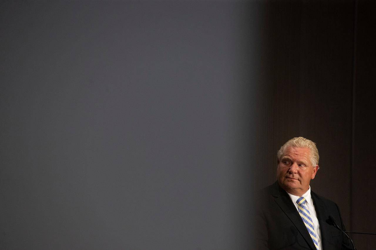 Ontario Premier Doug Ford. THE CANADIAN PRESS/Chris Young Ontario Premier Doug Ford stands joint press conference at the Ontario-Quebec Summit in Toronto. THE CANADIAN PRESS/Chris Young