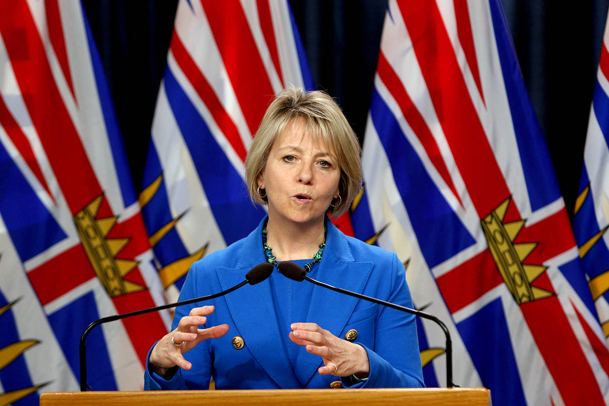 Provincial Health Officer Dr. Bonnie Henry provides the latest update on the COVID-19 pandemic in the province during a press conference in the press theatre at Legislature in Victoria, B.C., on Thursday, October 22, 2020. THE CANADIAN PRESS/Chad Hipolito