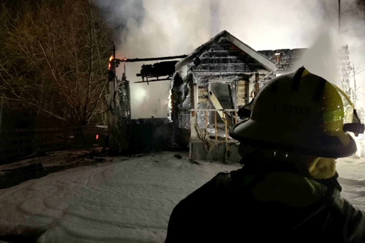 Crews were called to a house fire in Langley at 30th Avenue and 240th Street on Friday, April 2, 2021. It was reported around 3 a.m by a local firefighter who was driving to the scene of a motor vehicle crash. (Andy Hewitson/Special to Langley Advance Times)