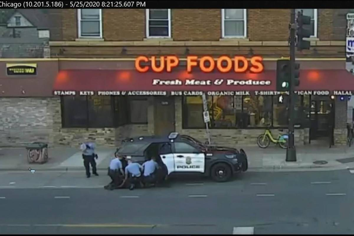 Minneapolis police are seen attempting to take George Floyd into custody in Minneapolis, Minn. The video was shown as Hennepin County Judge Peter Cahill presides Monday, March 29, 2021, in the trial of former Minneapolis police officer Derek Chauvin, in the death of Floyd at the Hennepin County Courthouse in Minneapolis, Minn. (Court TV via AP, Pool, File)