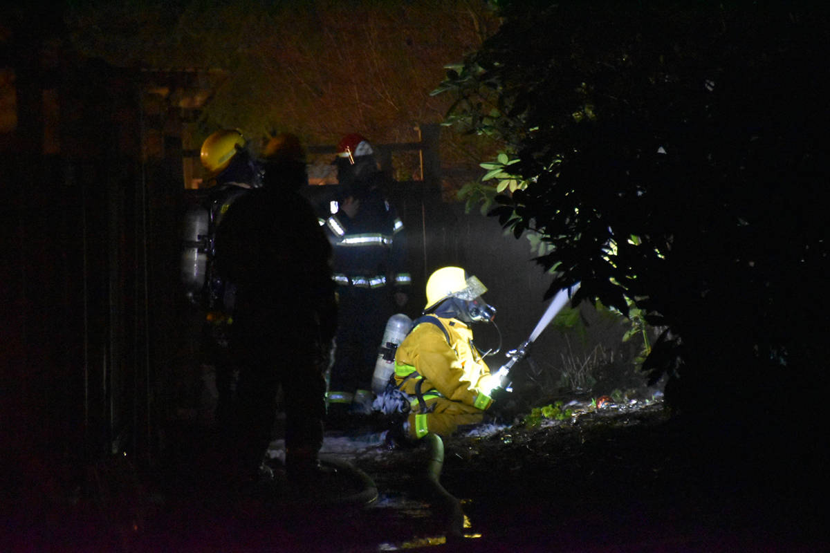 An early morning fire forced the evacuation of a Maple Ridge apartment building on Saturday, April 3. The blaze appeared to have started in a second-floor unit of Devonshire Court in the 22100 block of Dewdney Trunk Road. (Curtis Kreklau/South Fraser News Services)