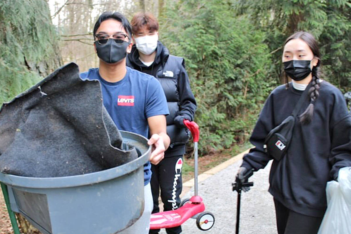 Walnut Grove Secondary School (WGSS) students have been removing all kinds of trash from the creek that runs by their school (Special to Langley Advance Times)
