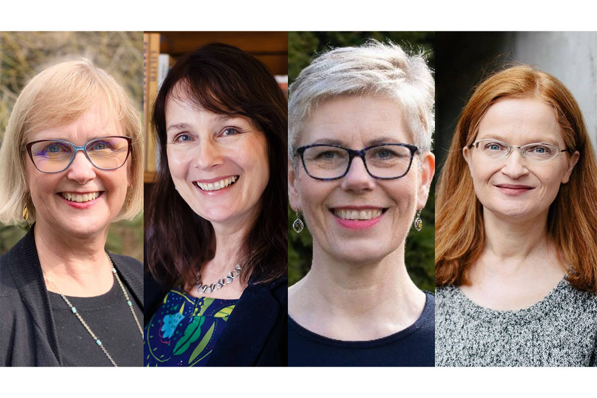 Authors and Trinity Western University instructors (from left) Jan Lermitte, Monika Hilder, Robynne Healey and Holly Nelson said history has often overlooked women who made significant contributions (Special to Langley Advance Times)