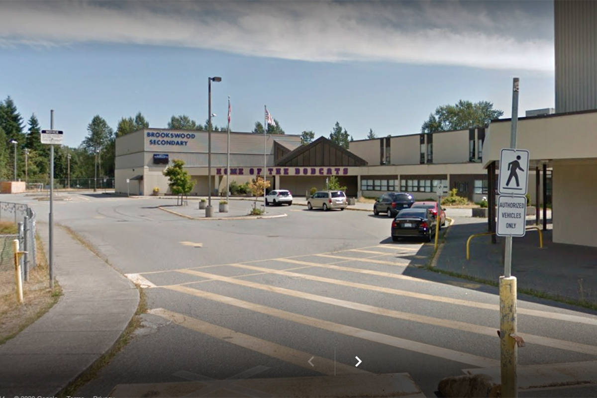 Google image of Brookswood Secondary School, which reported a COVID-19 case on March 31 (file)
