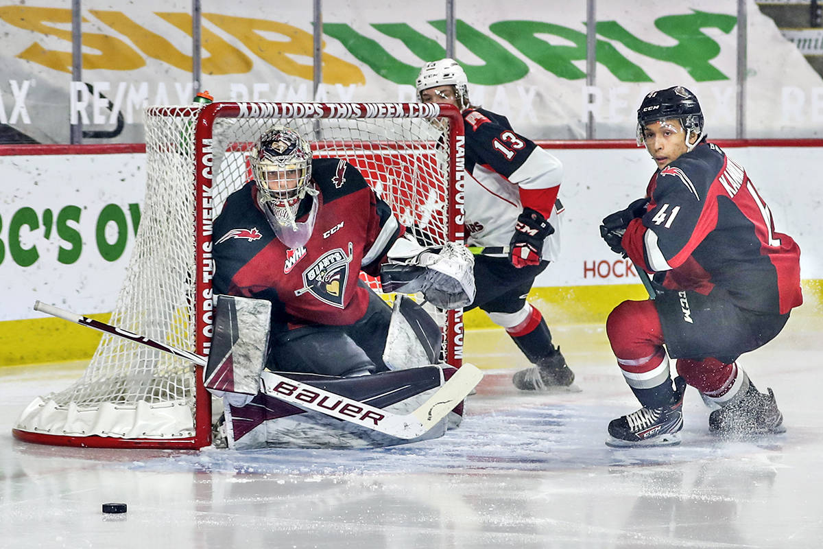 Nothing got past Giants goaltender Trent Miner. Miner's second consecutive shutout helped lift the the team to a 1-0 shootout victory Sunday evening April 4, 2021, over the Prince George Cougars in Kamloops (Allen Douglas/Special to Langley Advance Times)