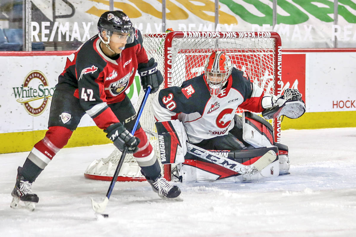 Justin Sourdif and the Vancouver Giants fought Prince George Cougars to a standstill in Kamloops on Sunday, April 4, winning 1-0 in the shootout (Allen Douglas/Special to Langley Advance Times)