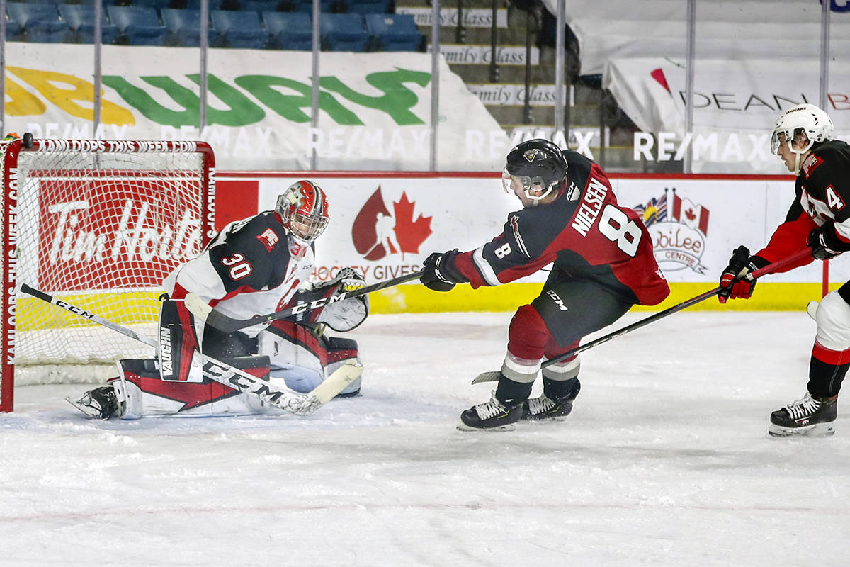 Tristen Nielsen had the lone goal of the evening which came in round three of the shootout, producing a 1-0 shootout victory Sunday evening April 4, over the Prince George Cougars in Kamloops(Allen Douglas/Special to Langley Advance Times)