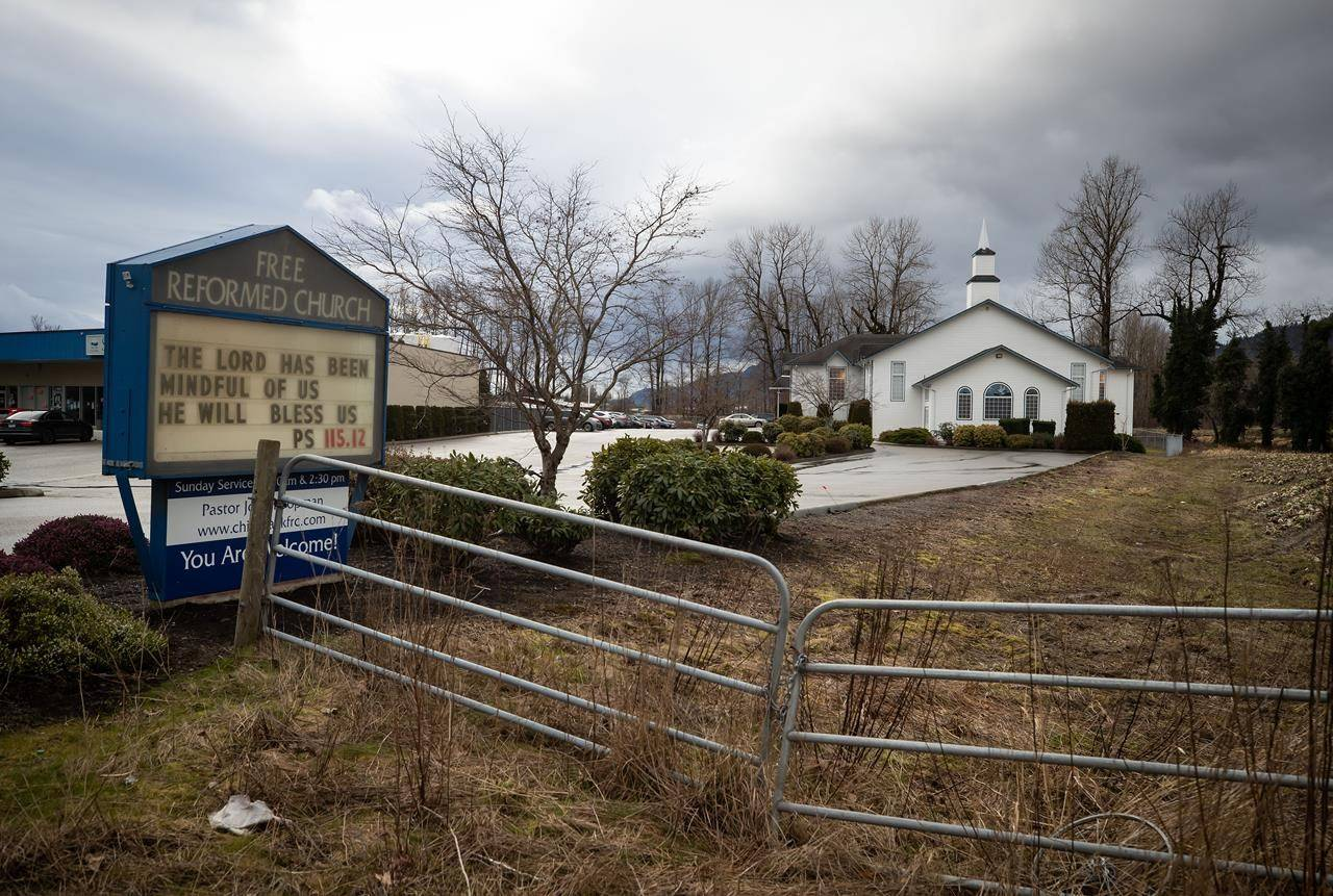 Free Reformed Church is seen as people attend Sunday service, in Chilliwack, B.C., Sunday, Feb. 21, 2021. British Columbia's top doctor says she is thankful a petition challenging her COVID-19 orders in B.C. Supreme Court has been dismissed. THE CANADIAN PRESS/Darryl Dyck