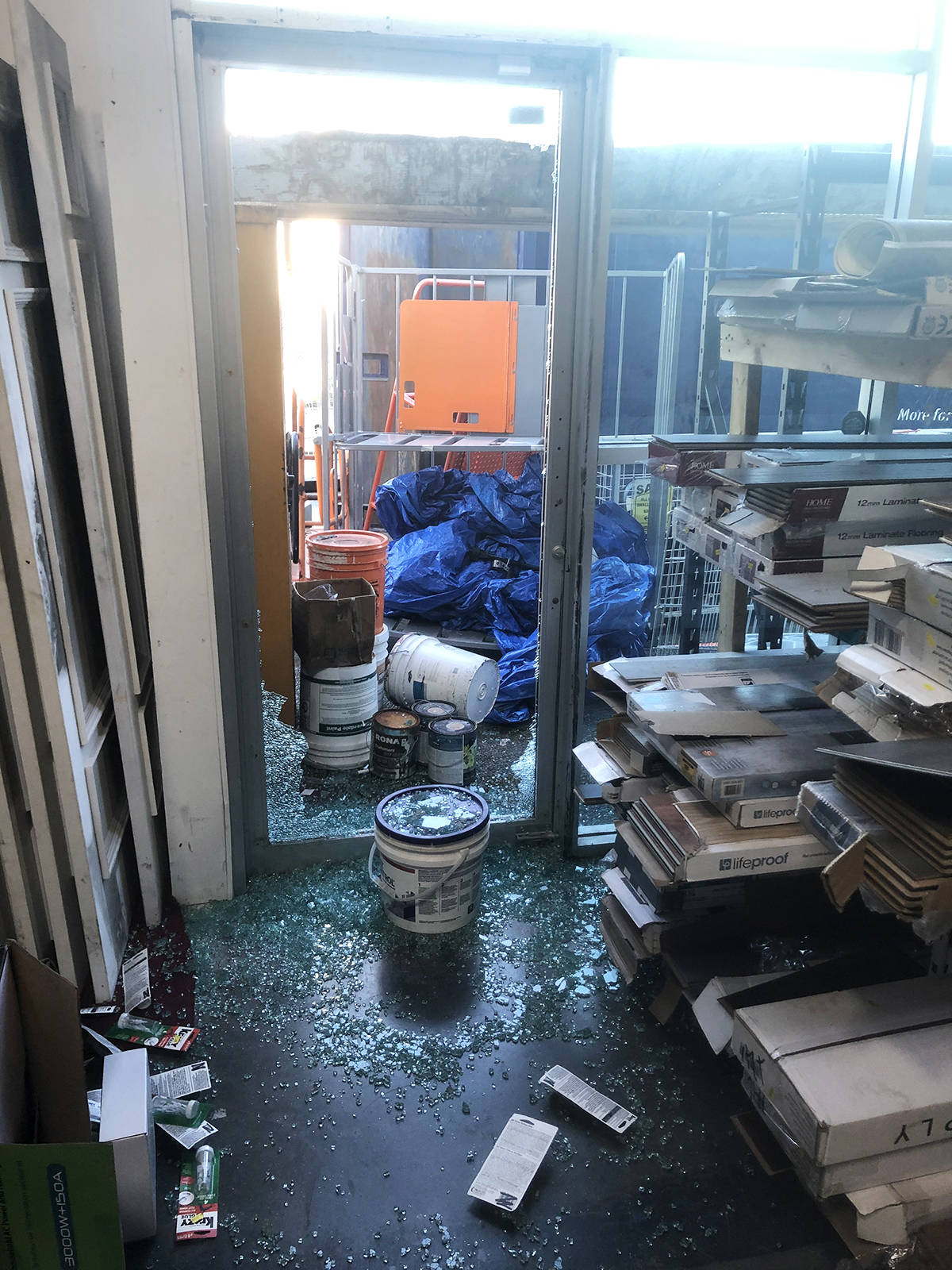 Shattered glass marks the spot where thieves broke into the Langley Habitat for Humanity ReStore. It was discovered Monday, April 5 when staff arrived in the morning (Special to Langley Advance Times)