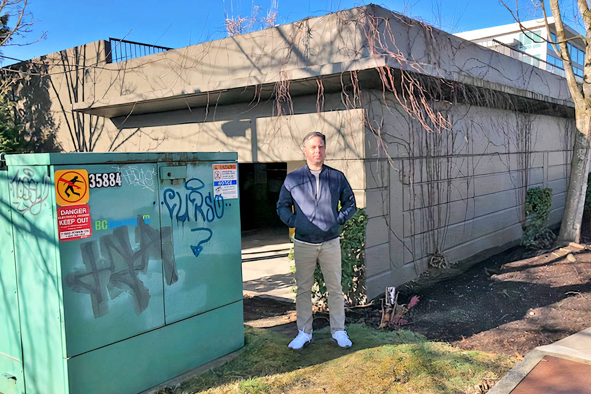 Bryan Miller didn't have look very hard on Saturday, March 28, to find examples of graffiti near the Township of Langley civic building where council meets. (Special to Langley Advance Times)