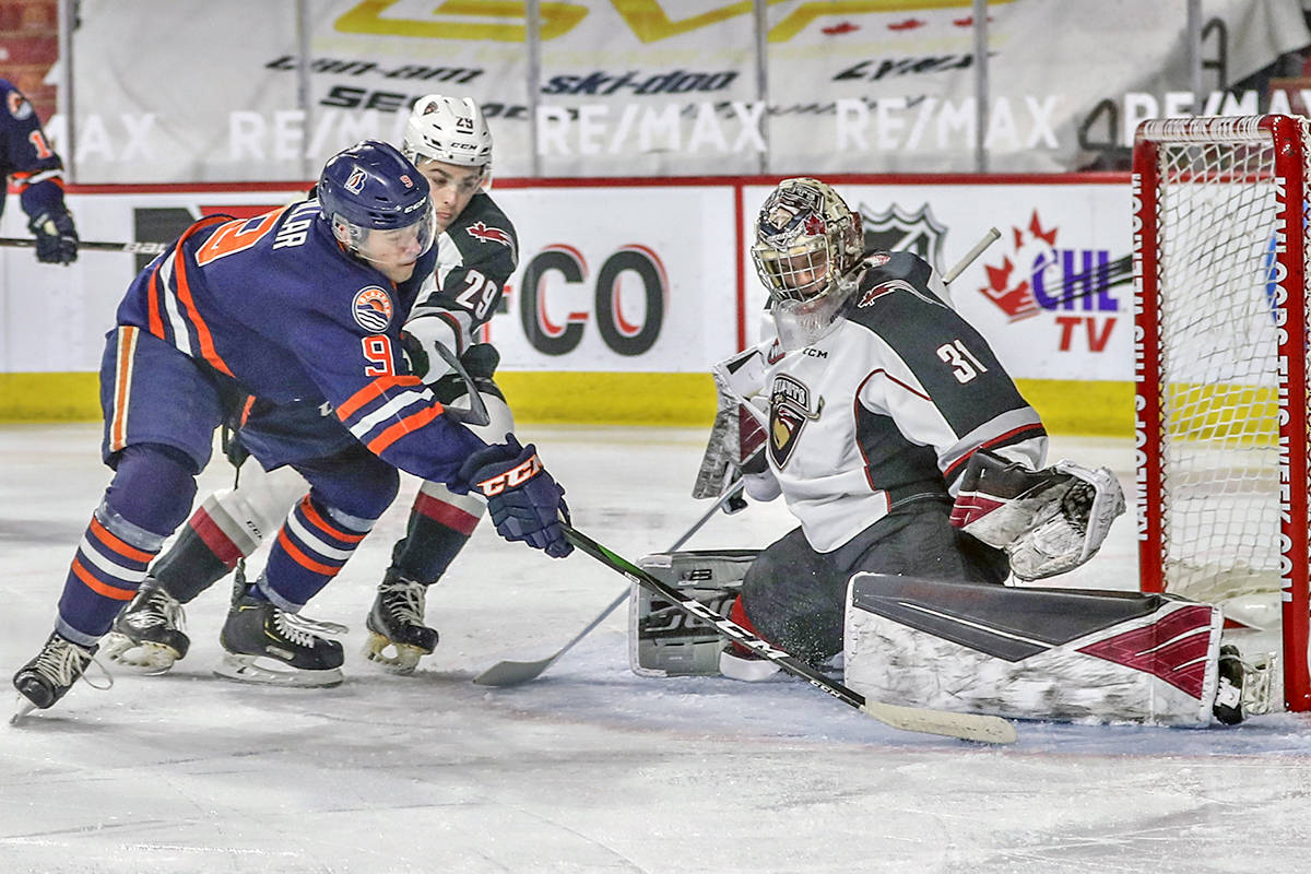 Trent Miner turned aside all 30 shots he faced to secure his third straight shutout as the Vancouver Giants defeated the Kamloops Blazers 4-0 Monday, April 5 (Allen Douglas/Special to Langley Advance Times)