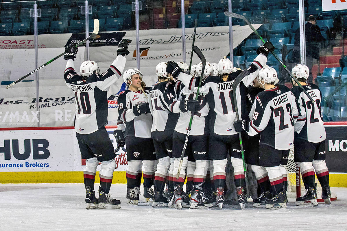Giants celebrate their win. They downed the Kamloops Blazers 4-0 Monday, April 5 (Tricia Mercuri/Special to Langley Advance Times)