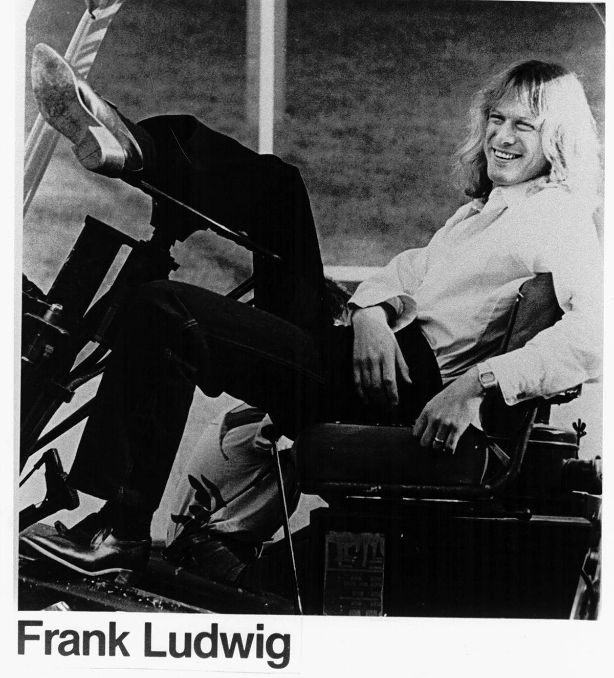 Frank Ludwig in a forklift with his long hair during Trooper's heyday. (Photo submitted)