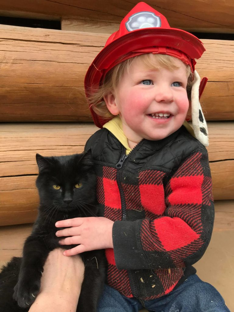 Carsyn Peters with Felix the cat, who presumably only has eight lives left. (Photo credit: Leanne Peters)