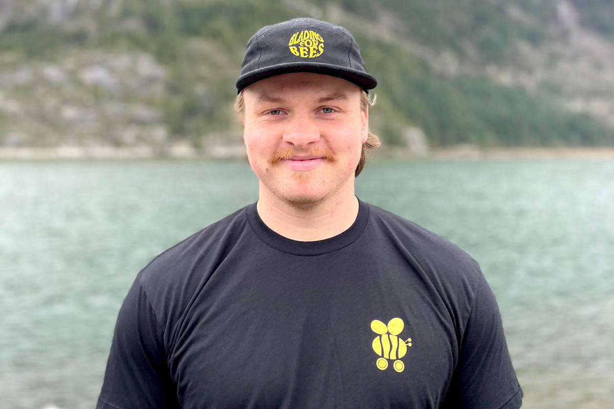 Zach Choboter, a former Aldergrove resident, is rollerblading across Canada to raise awareness for bees. (Special to The Star).