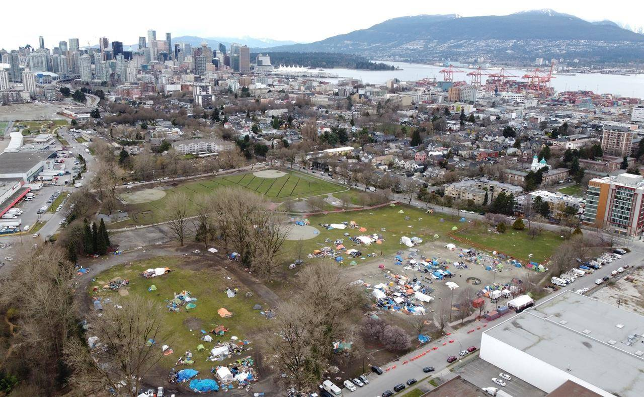 A homeless camp is pictured in Strathcona Park close to the downtown core of Vancouver on March 9, 2021. THE CANADIAN PRESS/Jonathan Hayward