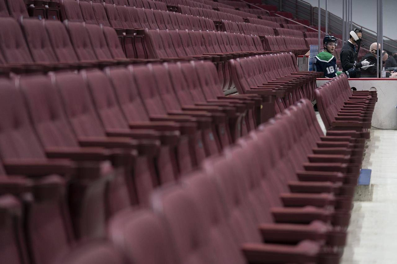 Vancouver Canucks right wing Jake Virtanen (18) sits in the penalty box as seats normally filled with fans remain empty during first-period NHL action against the Edmonton Oilers in Vancouver on February 25, 2021. THE CANADIAN PRESS/Jonathan Hayward
