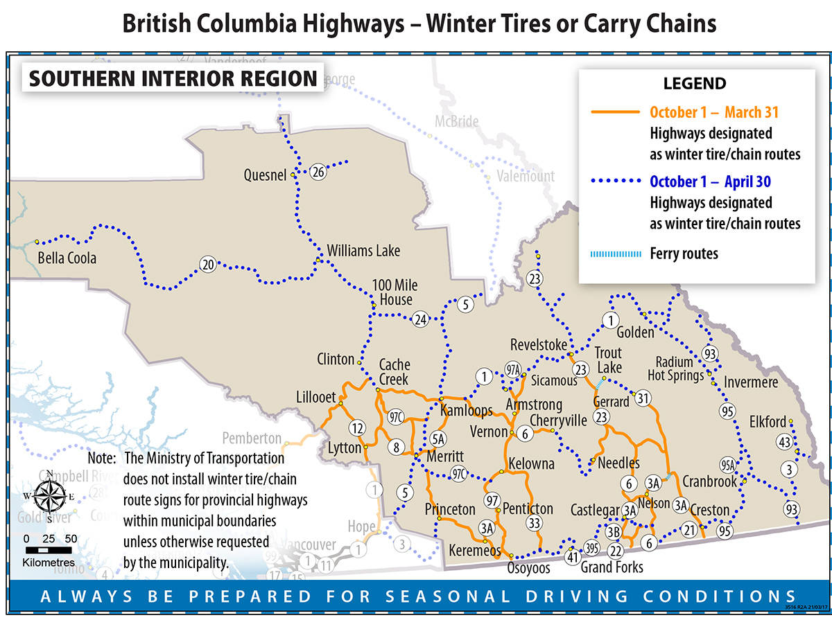 Most routes in the Kootenays require winter tires stay on your vehicle until April 30, 2021. Ministry of Transportation map.